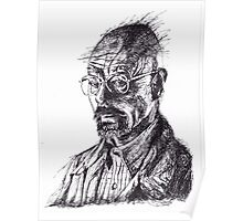 Walter White Breaking Bad Ink Portrait Poster