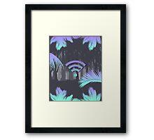 Vaporwave wifi forest Framed Print
