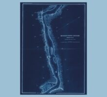 Civil War Maps 1166 Mississippi River from Cairo Ill to St Marys Mo in VI sheets 05 Inverted One Piece - Short Sleeve