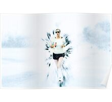 winter affect Woman runs in a park Digitally manipulated Poster