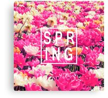"""Pretty """"Spring"""" Typography & Pink & Yellow Flowers Canvas Print"""