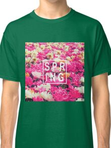 "Pretty ""Spring"" Typography & Pink & Yellow Flowers Classic T-Shirt"