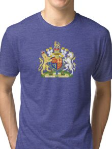 Royal Coat of Arms of United Kingdom (England, Wales, Northern Ireland) Tri-blend T-Shirt