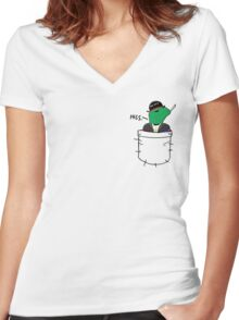 Pocket Reptilian - Leafy ( Leafyishere ) Women's Fitted V-Neck T-Shirt