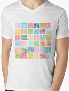 Abstract geometric hand drawn strokes seamless pattern. Mens V-Neck T-Shirt