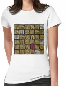 Abstract geometric hand drawn strokes seamless pattern. Womens Fitted T-Shirt