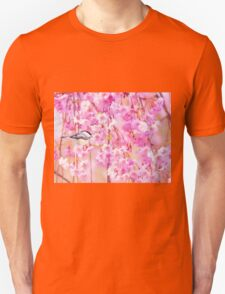 Black Cap Chickadee In Pink Weeping Willow T-Shirt