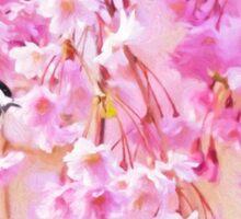 Black Cap Chickadee In Pink Weeping Willow Sticker