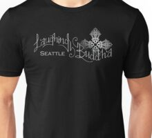 Laughing Buddha Seattle white lettering on black Unisex T-Shirt