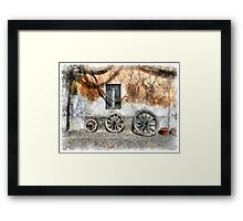 View with wagon wheels Framed Print