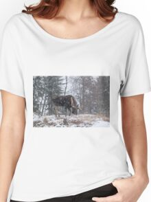 Moose in a snow storm Women's Relaxed Fit T-Shirt