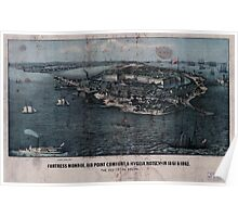 Civil War Maps 0400 Fortress Monroe Old Point Comfort Hygeia Hotel Va in 1861 1862 The key to the South Poster