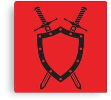 Shield & Swords Tattoo Design - Black on Red Canvas Print