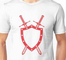 Shield & Swords Tattoo Design - Red Unisex T-Shirt