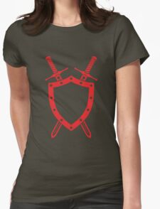 Shield & Swords Tattoo Design - Red Womens Fitted T-Shirt