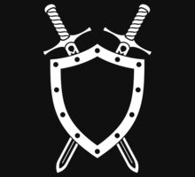 Shield & Swords Tattoo Design - White on Black Kids Tee