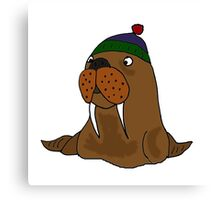 Cool Funny Walrus in Knitted Cap Canvas Print