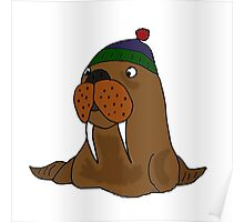 Cool Funny Walrus in Knitted Cap Poster