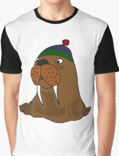 Cool Funny Walrus in Knitted Cap Graphic T-Shirt
