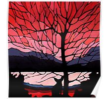 """""""Red Sunset Fox"""" acrylic painting Poster"""