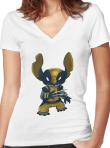 Stitch Wolverine Women's Fitted V-Neck T-Shirt