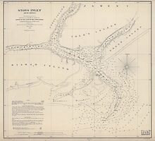 Civil War Maps 1707 Stono Inlet South Carolina by wetdryvac