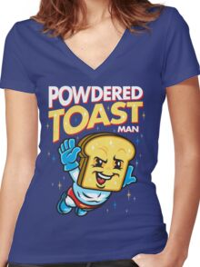 Super Toast Man Women's Fitted V-Neck T-Shirt