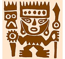 Warrior, ancient native American drawing (Peru) Photographic Print