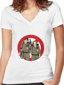 Ghostbusters Files - Mulder & Scully Women's Fitted V-Neck T-Shirt