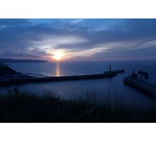 Whitby harbour walls at sundown Photographic Print