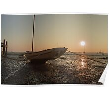 Boat at low tide at sunset Poster