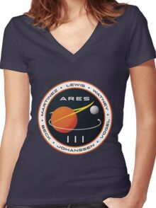 ARES 3 Mission Patch (Clean) - The Martian Women's Fitted V-Neck T-Shirt