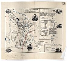Civil War Maps 1853 Topographical sketch of the battle field of Stone River Dec 31 1862 Poster