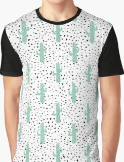 Modern Artistic Abstract Cactus and Triangles Graphic T-Shirt