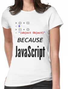 wat BECAUSE JavaScript - Funny Design for Web Developers Womens Fitted T-Shirt