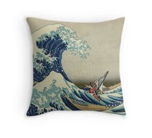 The Great Wave of Hyrule Throw Pillow