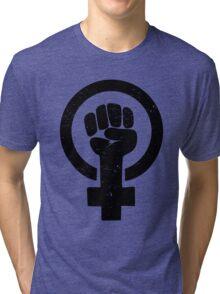 Feminist Raised Fist - Distressed Tri-blend T-Shirt