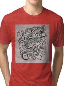 Swallow bird and flowers illustration Tri-blend T-Shirt