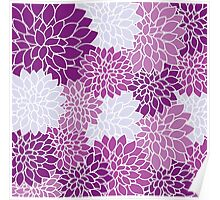 Dahlia Flowers Pattern Poster