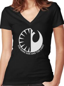 The Dark Side and the Light Women's Fitted V-Neck T-Shirt