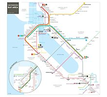 San Francisco Bay Area Transit Map Photographic Print