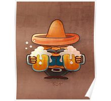 Drinking beer illustration Poster
