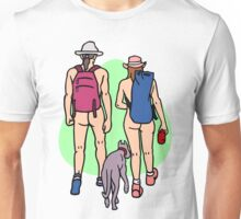 Bare Dog Walking Couple Unisex T-Shirt