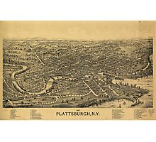 Aerial Map of Plattsburgh New York (1899) Photographic Print