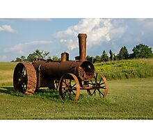 Antique And Rusty - a Vintage Iron Tractor on a Farm Photographic Print