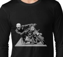 1940s Vintage Motorcycle Racer Graphic Long Sleeve T-Shirt