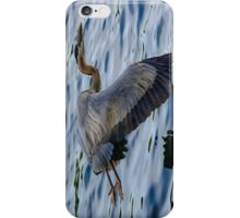 Great blue heron in fly iPhone Case/Skin