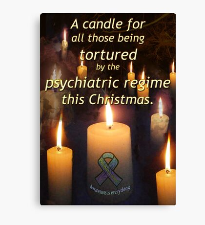 A candle for all those tortured by the psychiatric regime this Christmas Canvas Print