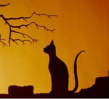 Cat and Bird at Sunset by Heatherian