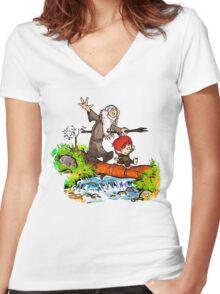 Gandalf and Bilbo Women's Fitted V-Neck T-Shirt
